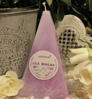 Aromatická svíčka Lila bavlna jehlan