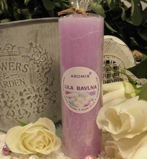 Aromatická svíčka Lila bavlna válec