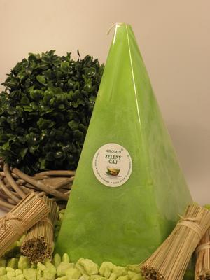 Aromatická svíčka Zelený čaj jehlan